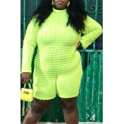 Lovely Casual Basic Yellow Plus Size One-piece Rom