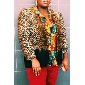 Lovely Casual Leopard Printed Plus Size Coat