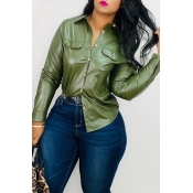Lovely Trendy Turndown Collar Buttons Design Army Green  Shirt