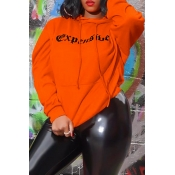 Lovely Casual Letter Printed Orange Hoodie