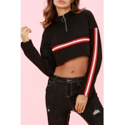Lovely Casual Striped Black Short Hoodies