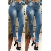 Lovely Casual Raw Edge Deep Blue Jeans