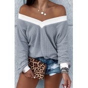 Lovely Trendy V Neck Striped Grey Sweatshirt Hoodie