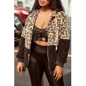 Lovely Casual Leopard Patchwork Black Jacket