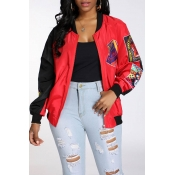 Lovely Casual Patchwork Red Jacket
