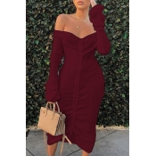 Lovely Trendy Dew Shoulder Wine Red Mid Calf Dress