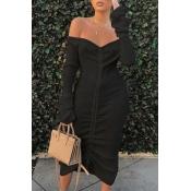 Lovely Trendy Dew Shoulder Black Mid Calf Dress