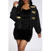 Lovely Trendy Printed Black Coat