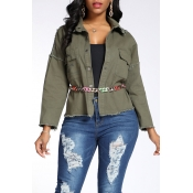 Lovely Trendy Raw Edge Army Green Coat