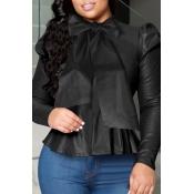 Lovely Sweet O Neck Flounce Design Black Blouse