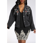 Lovely Trendy Rhinestone Decorative Black Coat