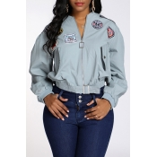 Lovely Casual Patchwork Sky Blue Jacket