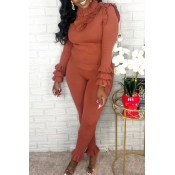 Lovely Sweet Turtleneck Flounce Design Brown Two-piece Pants Set