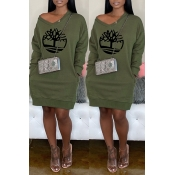 Lovely Casual V Neck Printed Blackish Green Knee L
