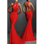 Lovely Party Hollow-out Red Trailing Evening Dress