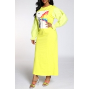 Lovely Sweet Printed Yellow Ankle Length Dress