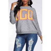 Lovely Casual O Neck Letter Grey Sweater