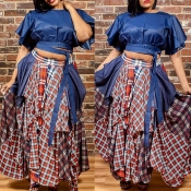 Lovely Casual Plaid Printed Blue Plus Size Two-pie