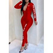 Lovely Casual Letter Printed Skinny Red One-piece
