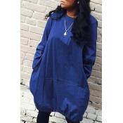 Lovely Trendy O Neck Loose Royal Blue Knee Length Dress