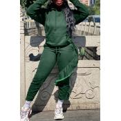 Lovely Street Flounce Design Green Two-piece Pants