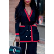 Lovely Casual Patchwork Black Cardigan(Without Bel
