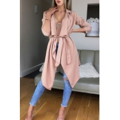Lovely Casual Lace-up Light Pink Trench Coats