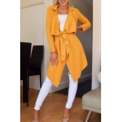 Lovely Casual Lace-up Yellow Trench Coats
