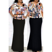 Lovely Casual Printed Black Floor Length Plus Size