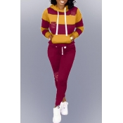 Lovely Casual Hooded Collar Hollow-out Wine Red Two-piece Pants Set