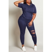 Lovely Casual Hollow-out Deep Blue Plus Size Two-p