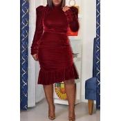 Lovely Sweet Flounce Design Wine Red Knee Length D