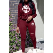 Lovely Trendy Hooded Collar Hollow-out Wine Red Tw
