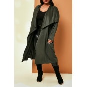 Lovely Casual Lace-up Loose Army Green Plus Size C