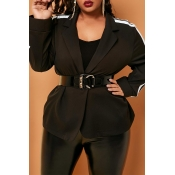Lovely Casual Striped Patchwork Black Plus Size Bl