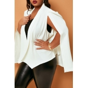 Lovely Casual Cloak Design White Plus Size Blazer