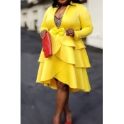 Lovely Casual V Neck Flounce Design Yellow Knee Le
