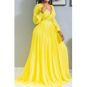 Lovely Casual Ruffle Design Yellow Floor Length Pl