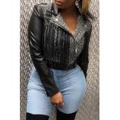 Lovely Casual Patchwork Zipper Design Black Coat