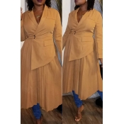 Lovely Trendy Patchwork Yellow Trench Coat
