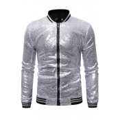 Lovely Casual Zipper Design Silver Jacket