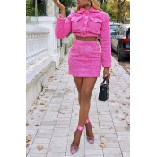 Lovely Casual Crop Top Pink Two-piece Skirt Set