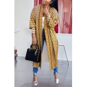 Lovely Casual Printed Yellow Long Coat