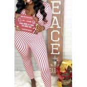 Lovely Casual Striped Skinny Red One-piece Jumpsuit