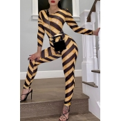 Lovely Sexy See-through Printed Yellow Two-piece P