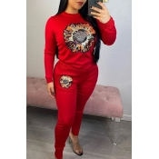 Lovely Casual O Neck Printed Red Two-piece Pants S