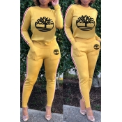 Lovely Casual O Neck Printed Yellow Two-piece Pant