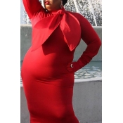 Lovely Casual Skinny Red Mid Calf Plus Size Dress