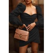Lovely Trendy Ruffle Design Black Mini Dress
