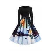 Lovely Sweet Printed Black Mid Calf Dress